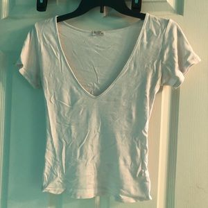 Brandy Melville white v neck tee